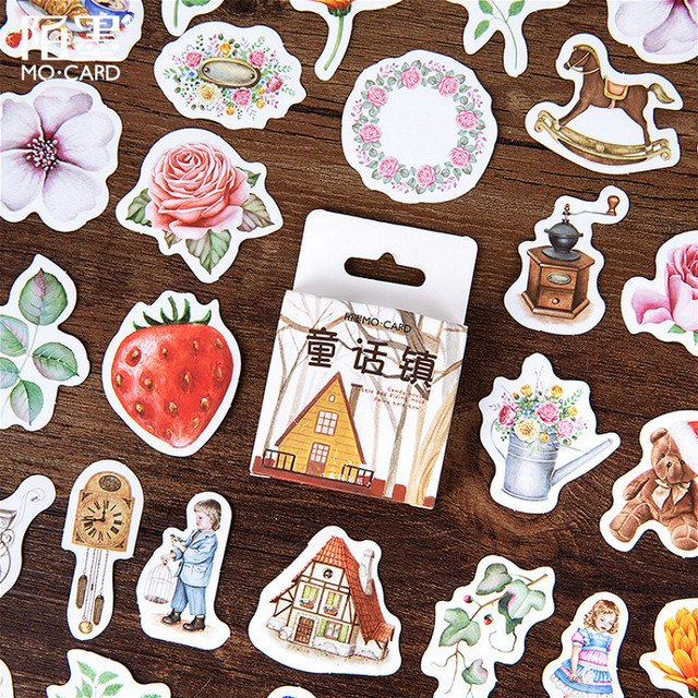 45pcs Fairy Tale Town Stationery Sticker Memo Stickers Pack DIY Posted It Kawaii Planner Scrapbooking School Supplies Escolar