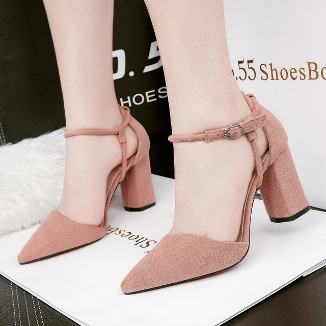 zapatos de mujer block heel shoes woman high heels sandals women fashion pointed toe buckle shallow office sandalias NO.55 Shoes