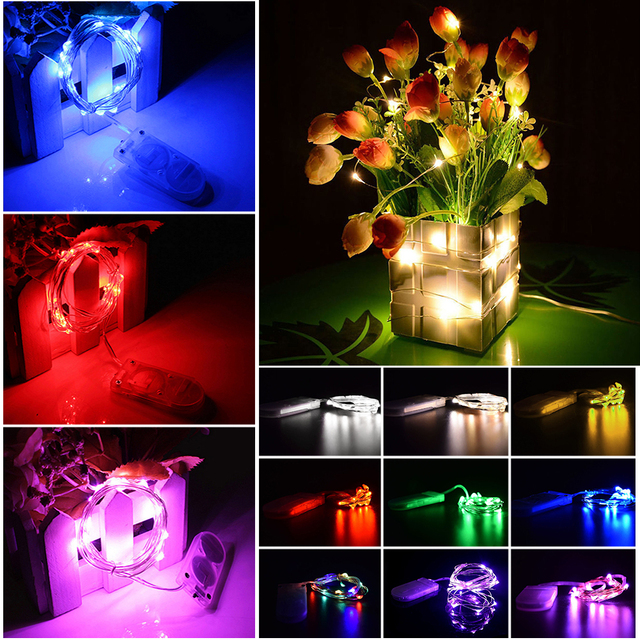 Led Fairy String Light CR2032 Battery Powered LED Mini Christmas Light Silver Wire String Light For Wedding Xmas Garland Party