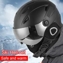 Winter Warm Snowboard Skiing Safety  Sled Sledge Scooter Helmet Protection Cap Half-covered Ski Helmet with Goggles Visor