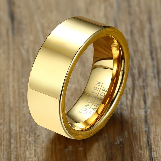 Free Laser Engraving inside or Outside 8mm Simple Plain Gold Anniversary Wedding Rings in Tungsten Carbide