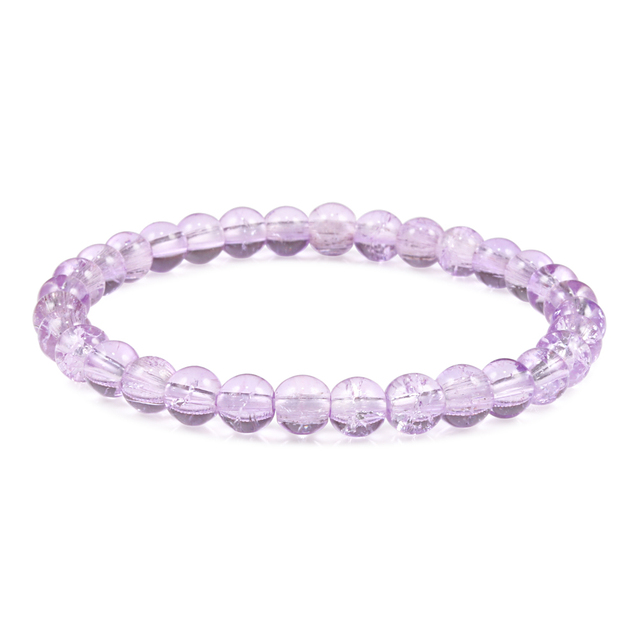 6mm Fashion Women Thin Bracelets Purple Crystal Natural Stone Beads Strand Bracelet Wrist Bangles Yoga Girl Charm Jewelry Gifts