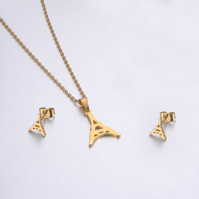 JeeMango Trendy Stainless Steel Sets For Women Girls Gold Color Tower Shape Necklace Earrings Jewelry Lover's Engagement Jewelry