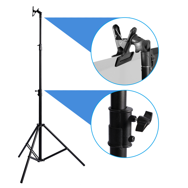 2.6m Light Stand Tripod Adjustable with Reflector clip Clamp For Reflector Backdrop Video Photo Studio Youtube Lighting
