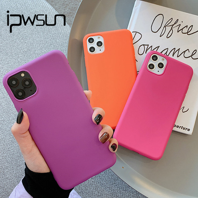 iPWSOO Matte Candy Pure Color Phone Case For iPhone 11 7 8 Pro Max XR XS X Matte Silicone For iPhone 7 8 6 6s Plus Soft TPU Case