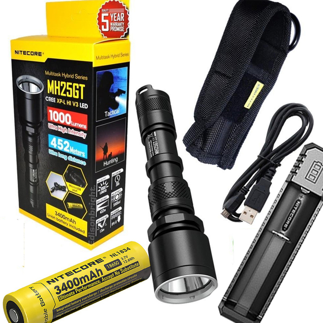 NITECORE MH25GT Rechargeable Flashlight XP-L HI V3 LED max. 1000LM beam distance 452 meters torch + 18650 battery + charger