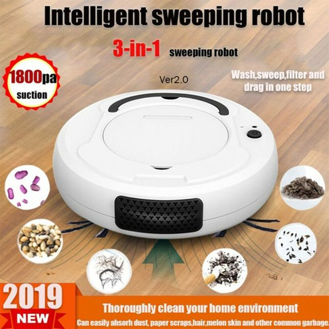 3.7V 1200MAH Smart Sweeping Robot Vacuum Cleaner Floor Edge Dust Clean Auto Suction Sweeper With 1800PA Powerful Suction