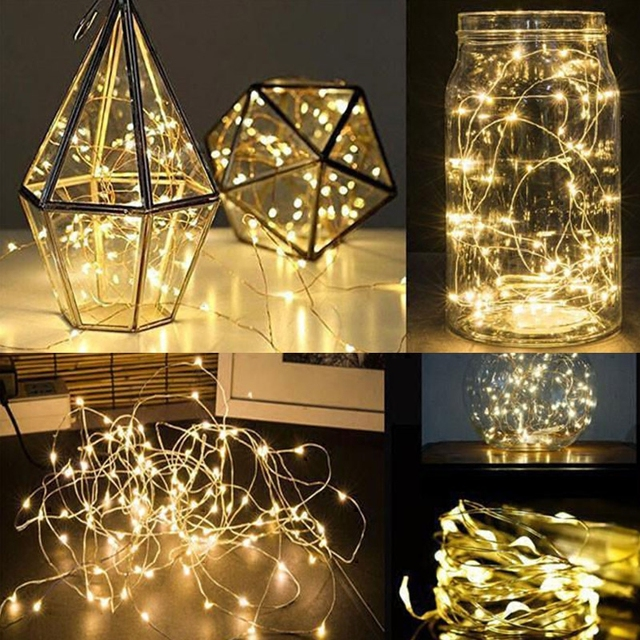 2M 20 LED Silver Copper Wire Fairy Lights AA Battery Operated Ultra Thin String for DIY Christmas Trees Lighting Wedding Decor