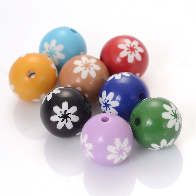 Miasol 40 Pcs Carved Acrylic Sunflower Engraved Round Spacers Charms Beads For Diy Jewelry Making