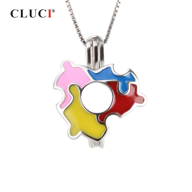 CLUCI 925 Silver Autism Awareness Puzzle Piece Charm Pendant for Necklace Jewelry Making Women Autism Awareness Day Wear SC267SB