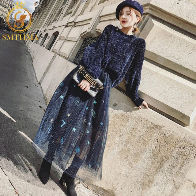 SMTHMA 2020 New Autumn And Winter Women Knit Sweater Sets Fashion Loose Pullover Sweater+Mesh embroidery Skirt Two Piece Sets