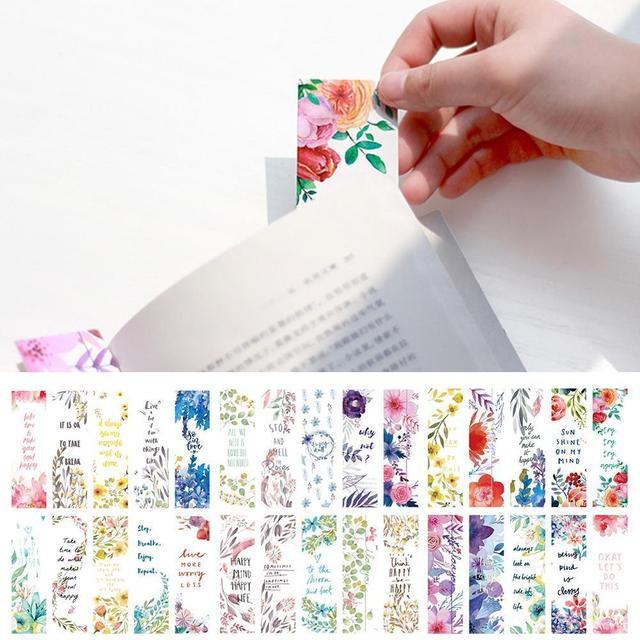 30pcs/set Beautiful Flowers Bookmarks Book Separation Supplies School Small Literary Page Paper Office Fresh Bookmark Bookm S3X4