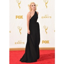 Elegant Lady Gaga Red Carpet Dresses 67th Emmy Awards A-Line Sexy Black Chiffon Party Gown Ruched One Shoulder Celebrity Dresses