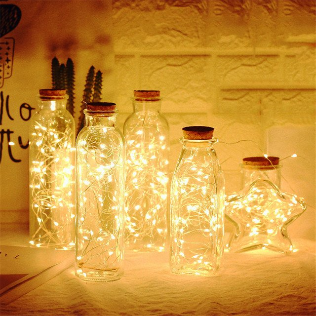 Foxanon LED Bottle Lights 1M 2M LED Fairy Light Copper Wire Garland String Light for Holiday Wedding Christmas Home Decoration