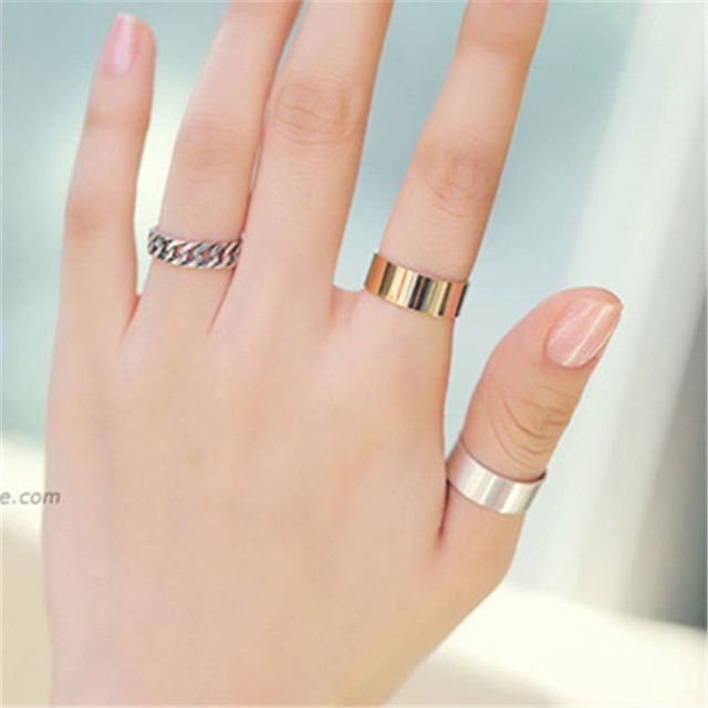 3pcs/set Couple Ring Fashion Simple Korean Rings for Women Gold Polished Vintage Finger Ring Wedding Jewelry Party Gifts WD757