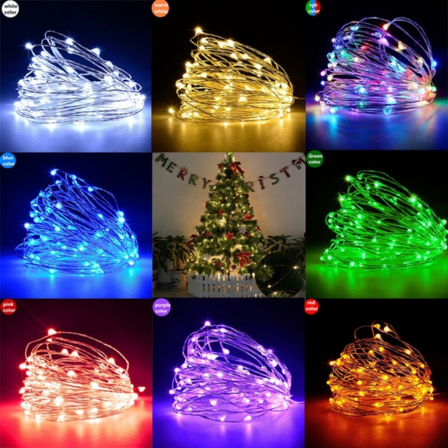 5M 50LEDs 3AA Battery Operated Mini Micro LED Lights String For Wedding Party Event christmas decorations silver copper wire