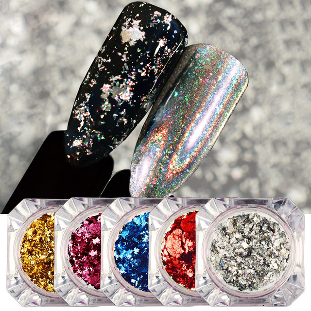 1pcs Holographic Glitter Mirror Chrome Flakes Sequins Nail Powder Aluminum Gold Silver Paillette Nail Art Foil Decor JICB01-08-1