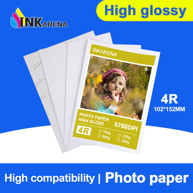 INKARENA 100 Sheets Glossy 4R 4 x 6 Photo Paper For Inkjet Printer Paper Supplies Printing Paper Photographic Color Coated