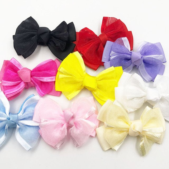 20pcs U pick Grosgrain /Stain Ribbon Bows DIY Appliques Wedding Craft Gift B066