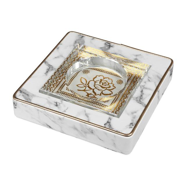 Indoor Luxury Cube Ashtray Creative Home Office Marble Smoking Tray PU Leather Square Crystal Ashtray Ash Case Gadgets