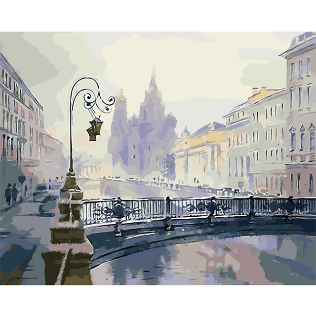 GATYZTORY 60X75cm Pictures By Numbers Landscape Acrylic Drawing Canvas Oil Painting For Adults Home Decoration Gift