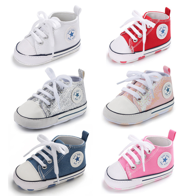 Meckior Infant Baby Boy Girl Canvas Soft Sole Anti-Slip Booties Prewalker Moccasins First Walker Shoes Sneakers