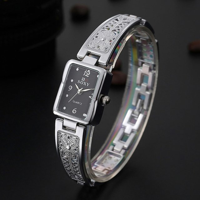 Women Bracelet Watch Rectangle Dial Carved Pattern Womens Watches Casual Time Quartz wristwatch female ladies reloje Gold silver