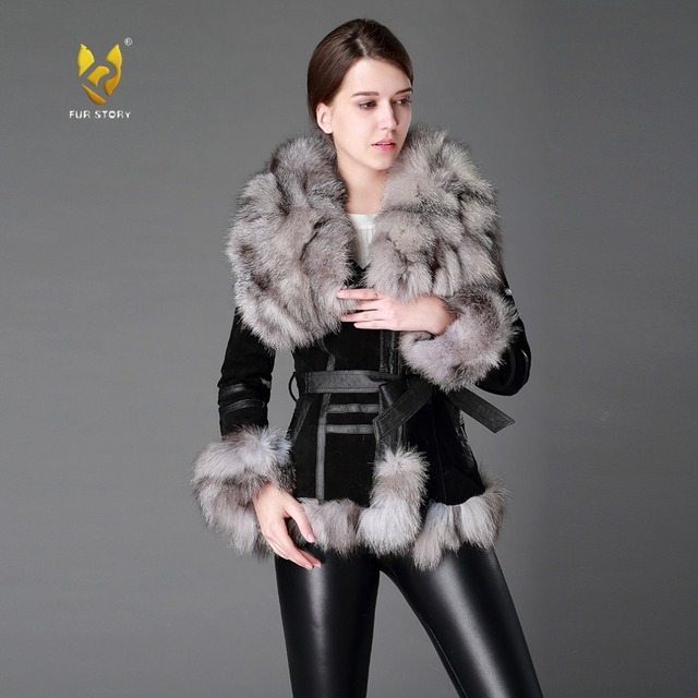 Women's Coats Leather Fur Coat Fox Fur Collar Womens Spring Jackets Women Jacket Winter jacket Women Fur Story FS13055