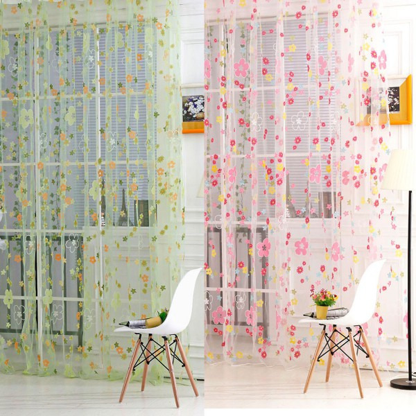 1*2m New Flower Voile Sheer Curtain Panel Window Balcony Tulle Room Divider Scarf Curtains