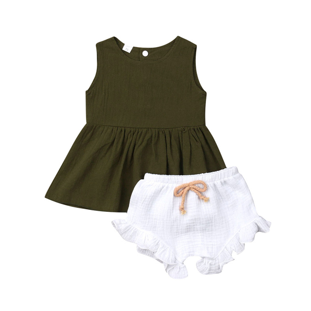 2019 Brand New Summer 2PCS Infant Clothes Baby Kids Girls Summer Outfits Toddler Solid Top Shirt Pants Shorts Clothes Set