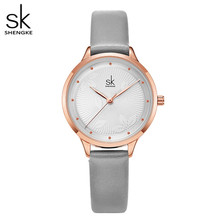 Shengke Fashion Simple Women Watches Woman Ladies Casual Leather Quartz Watch Female Clock Relogio Feminino Montre Femme Clock