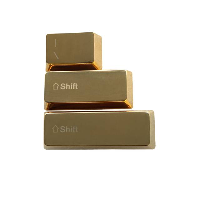 Golden Metal Keycaps Backlit Right Left Shift Keyset OEM Profile Cherry MX Key Caps For MX Switches Mechanical Gaming Keyboards