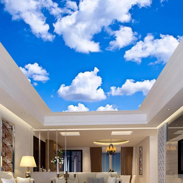 Blue Sky White Clouds 3D Ceiling Murals Wallpaper Custom Any Size Modern Living Room Bedroom Ceiling Decoration Photo Wall Paper