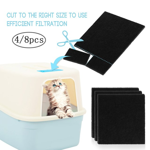 1 Set Activated Carbon Filter Kitten Cat Litter Filter Replacement Filters Deodorant Pad Litter Box Charcoal Filter Odor Control