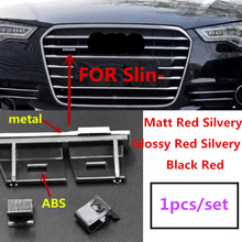 1X ABS Plastic Chrome matt silver black Front Grille Emblem Badge Chromed mount for Audi Sline S Line A4 A4L A5 A6L S3 S6