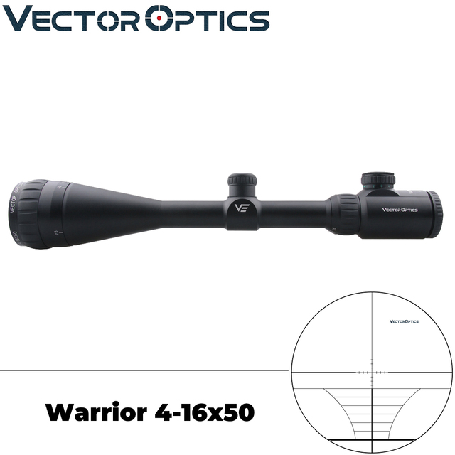 Vector Optics Hunting 4-16x 50mm AOE Shooting Riflescope Weapon Sight 1 Inch Monotube with Range Finder Reticle Cap Sunshade