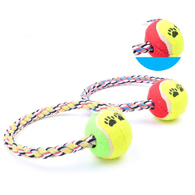 Pet Dog Training Toys Cotton Braided Rope Toys With Tennis Ball Pet Tooth Cleaning Circle Molar Chw Toys Wholesale Pet Supplies