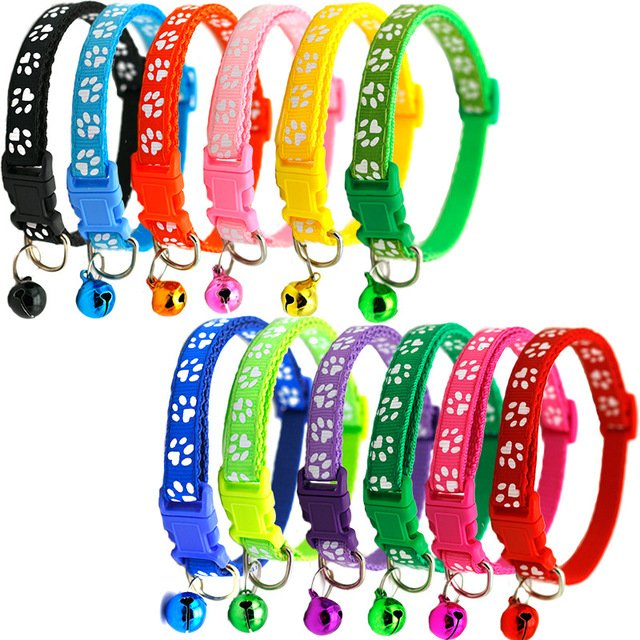 Pet Cat Bell Collar Dog Toy Multiple Color Nylon Footprint Buckle Safety Breakaway Adjustable For Kittens Puppy Neck Strap