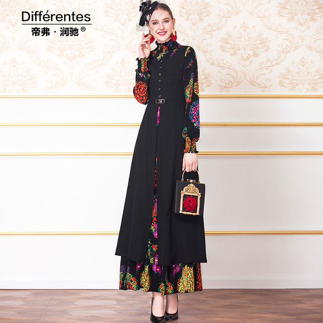 Maxi Long Dress printed 2019 autumn ankle-length long sleeve party vintage stand plus size S-4XL women dresses