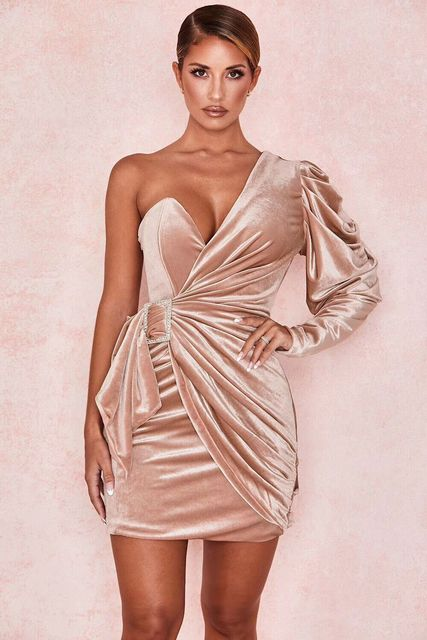2019 New Women one shoulder long sleeve Vestido Celebrity evening party bodycon bandage dresses