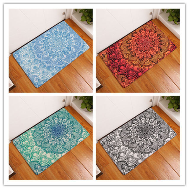 Geometric Flower Design Series Non Slip Shower Mat Bathroom Carpet Bath Mat Rugs Home Decoration Floor Mat Kitchen Mat