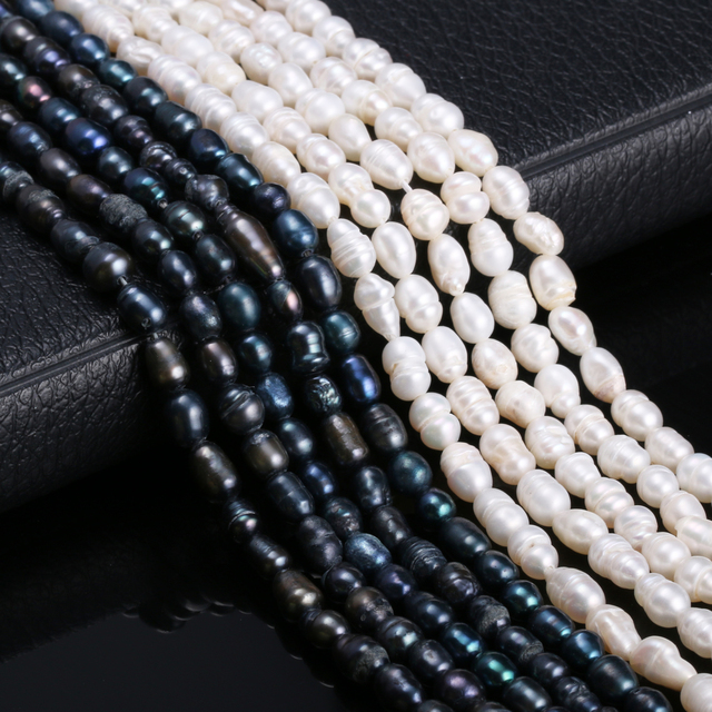 Natural Freshwater Cultured Pearls Beads Rice Shape Loose Bead for Jewelry Making Necklace Bracelet Accessories Strand 13 Inches