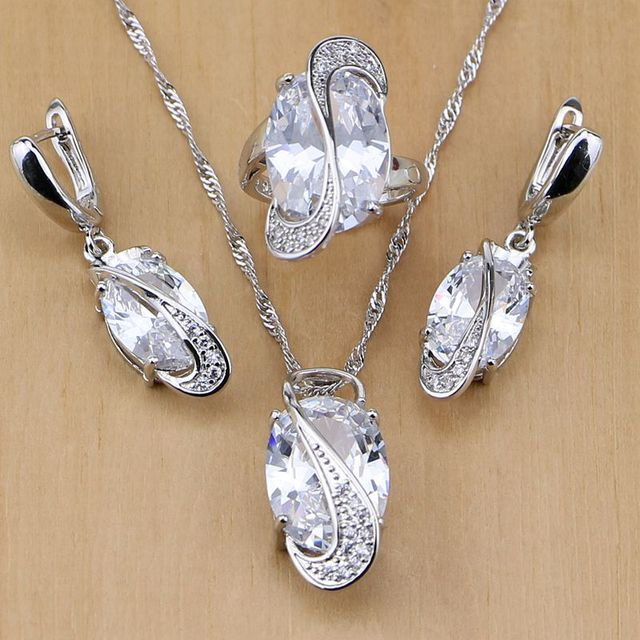 Trendy 925 Sterling Silver Bridal Jewelry White CZ Jewelry Set For Women Wedding Earrings/Pendant/Necklace/Rings