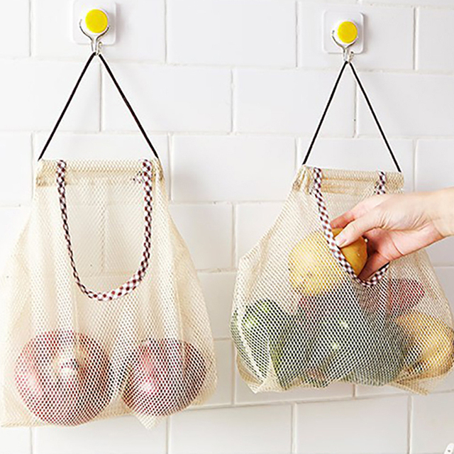 Reusable Washable Mesh Fruit Vegetable Storage Bag Food Kitchen Shopping Mesh Fruit Vegetable Bags Eco-Friendly Pouch Net Bag