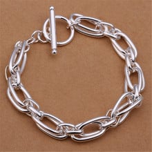 Wholesale  men women chain silver color plated bracelets noble wedding gift party fashion jewelry Christmas gifts JSH320