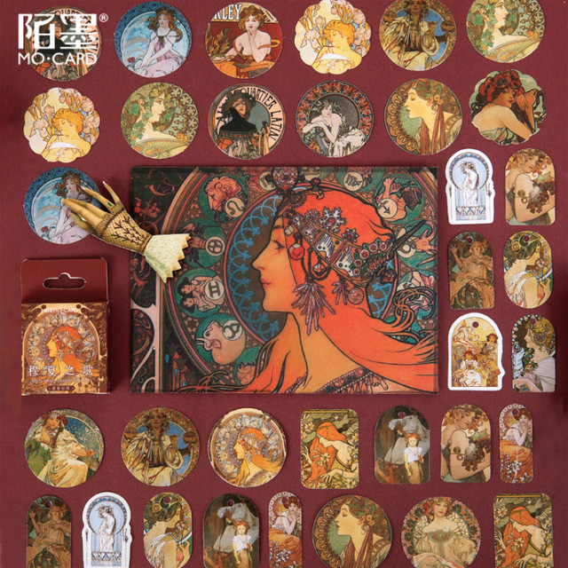 45pcs Alphonse Mucha Stationery Sticker Memo Stickers Pack DIY Posted It Kawaii Planner Scrapbooking School Supplies Escolar