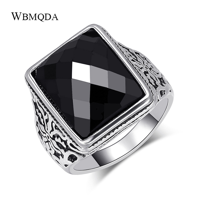 Wbmqda Hot Square Black Stone Men Rings Filled Antique Silver Lucky Pattern Wedding Ring Vintage Jewelry Drop Shipping