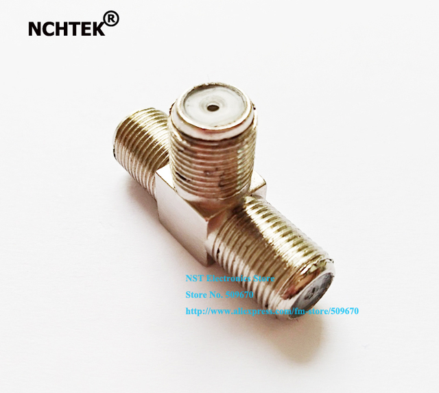 NCHTEK Copper F type Triple 3 Female Jack  Adapter Connector T-Adapter/Free Shipping/20PCS