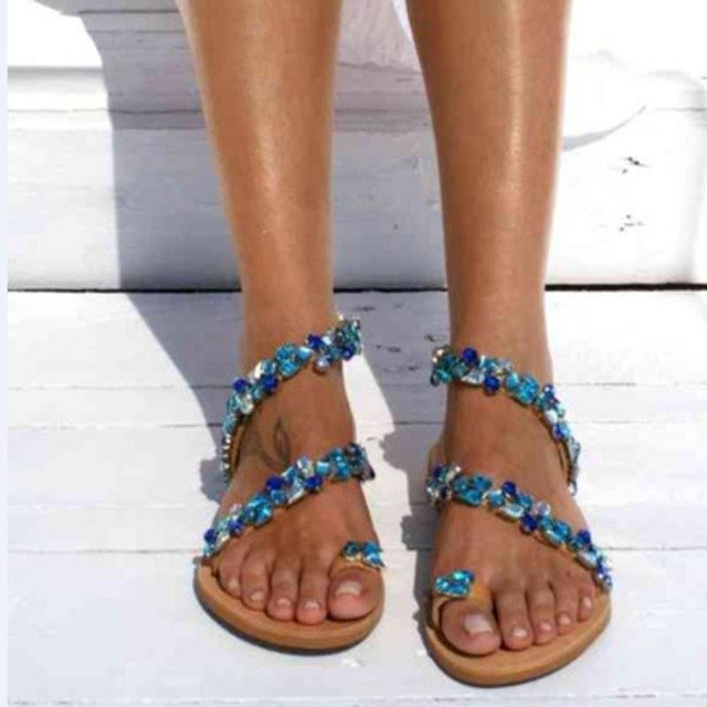 Sandals Women Shoes Summer Rhinestones Fashion Flat Sandals Crystal Shoes Sexy Women Slippers Flip Flops Sandal Shoes