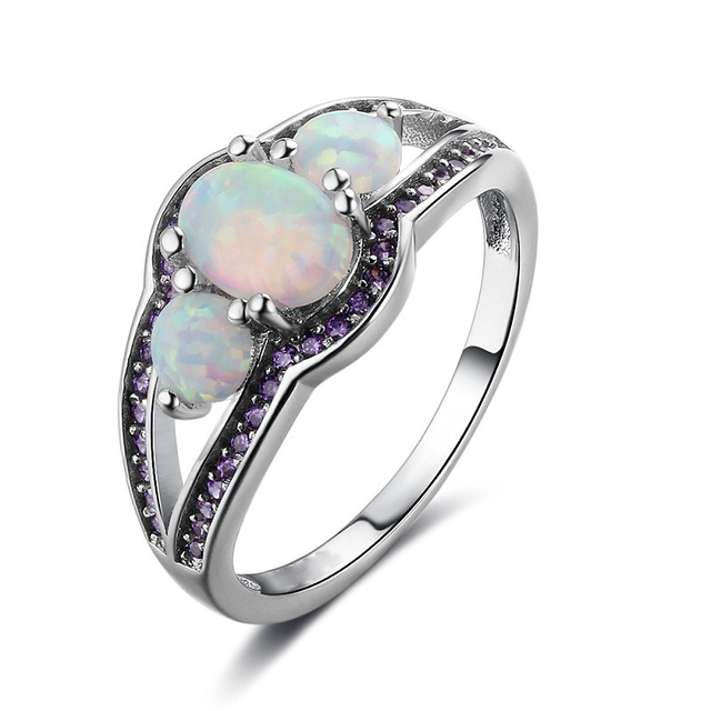 Charm Purple Crystal Rhinestones Rings Fashion Three Oval Geometric White Imitation Fire Opal Ring For Women Accessories Jewelry